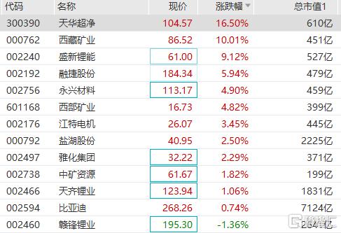 锂矿股午后持续走高,天华超净反包大涨13%