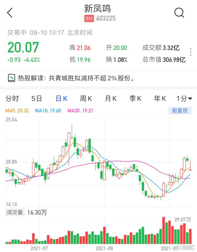 新凤鸣(603225.SH)跌逾4% 现报20.07元