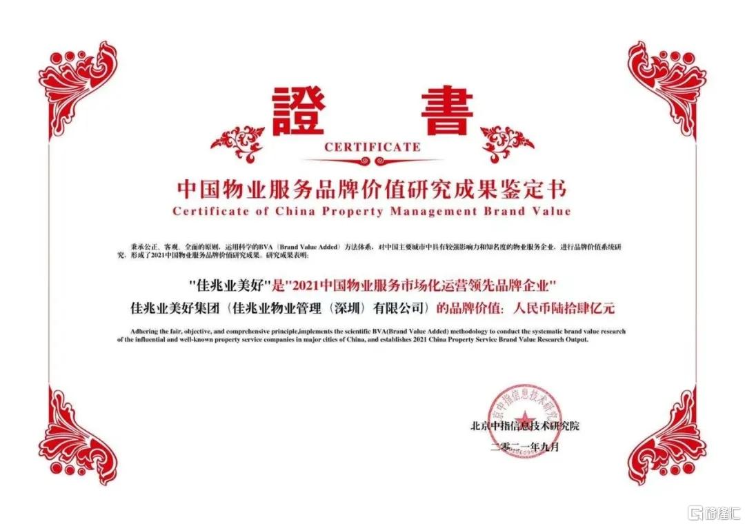 """佳兆业美好(2168.HK)获评""""2021物业服务市场化运营领先品牌企业"""""""